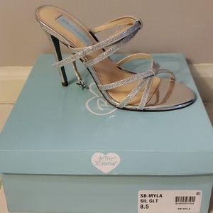 Betsey Johnson Myla Silver Strappy Heels